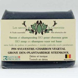 Savon et shampooing au Pin Sylvestre / Charbon végétal - Les savons de la Couronne